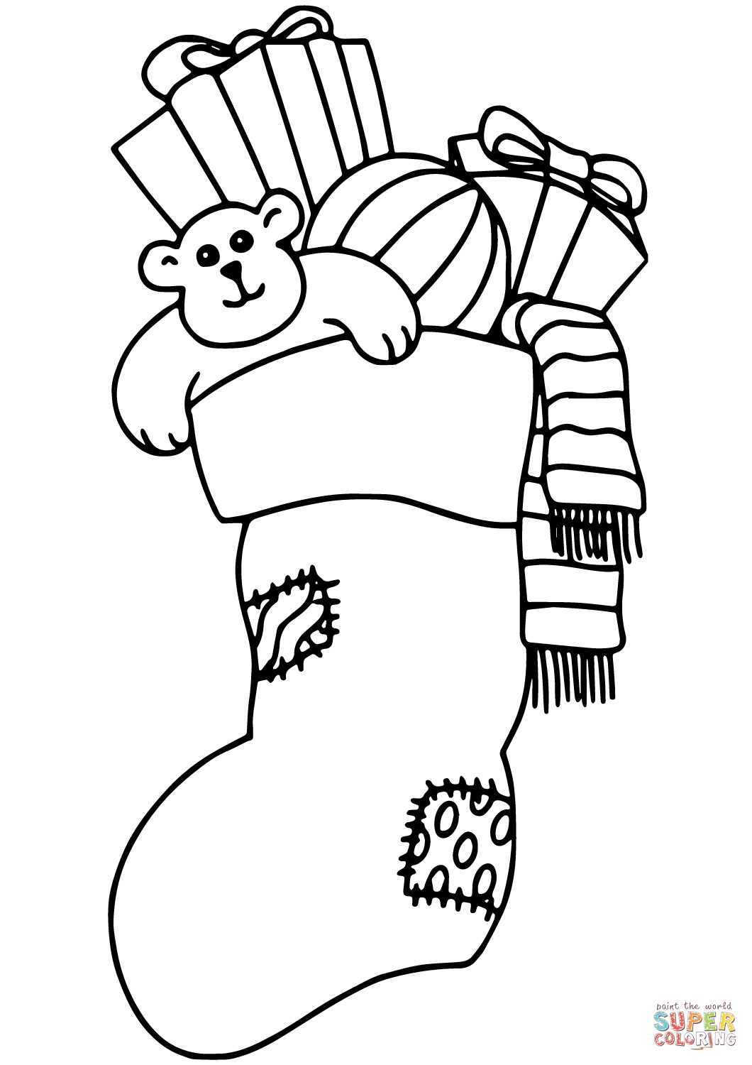 Christmas Stocking Filled With Ts Coloring Page