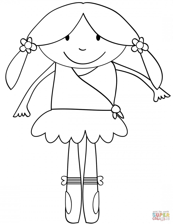 Cute Cartoon Ballerina Coloring Page