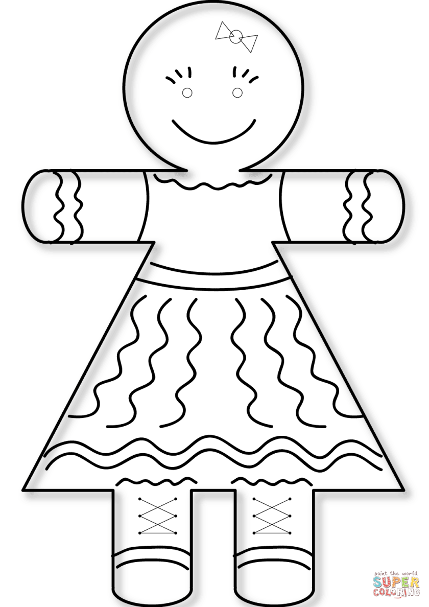 gingerbread girl coloring page  free printable coloring pages