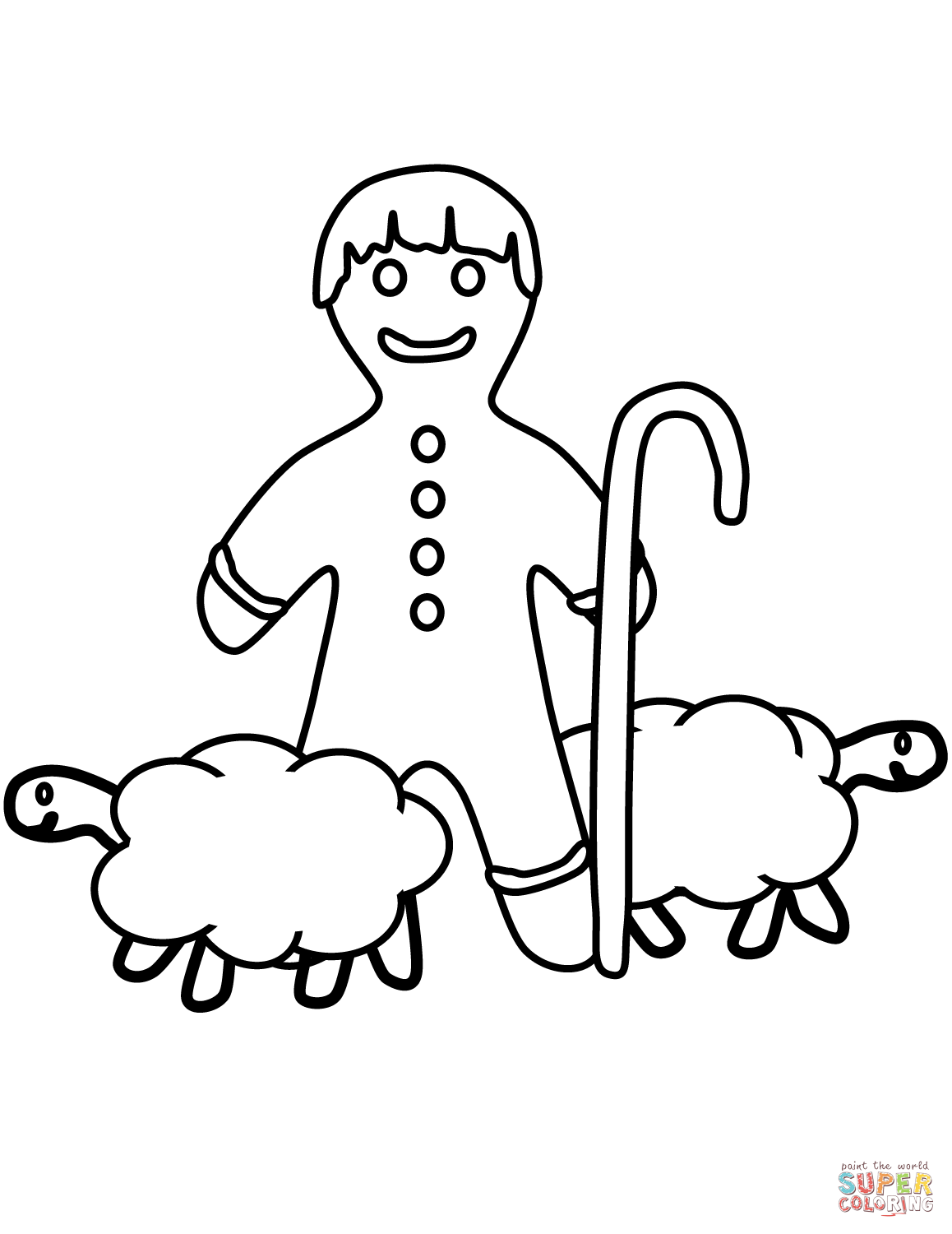 Gingerbread Man Shepard Coloring Page