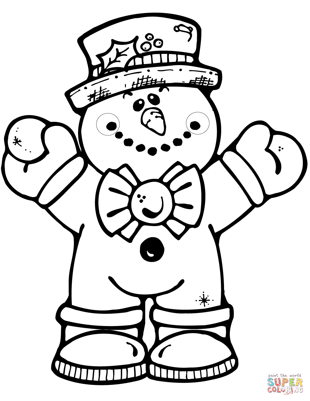 Hugging Snowman Coloring Page Free Printable Pages