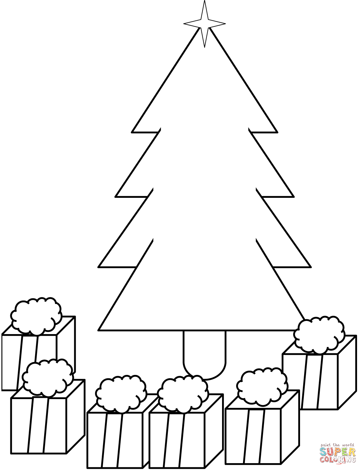 Xmas Tree With Presents Under It Coloring Page