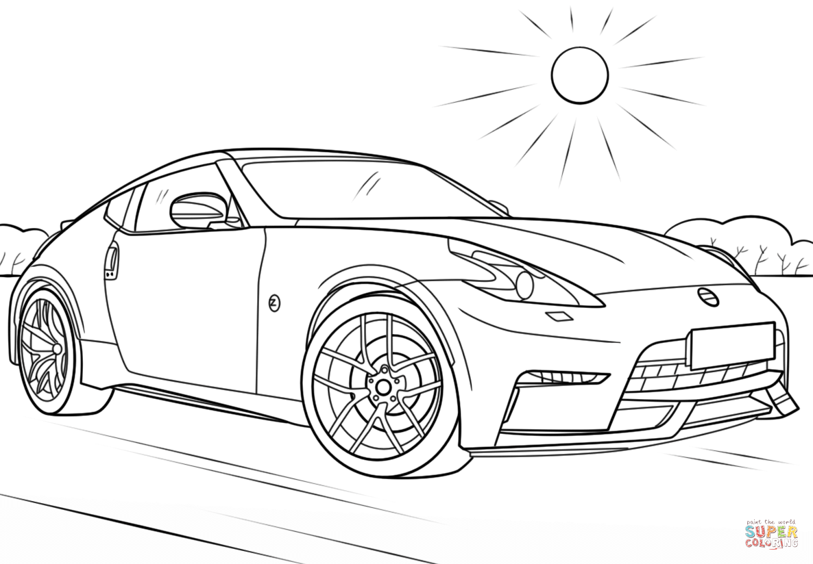Nissan 370z Drawing Sketch Coloring Page