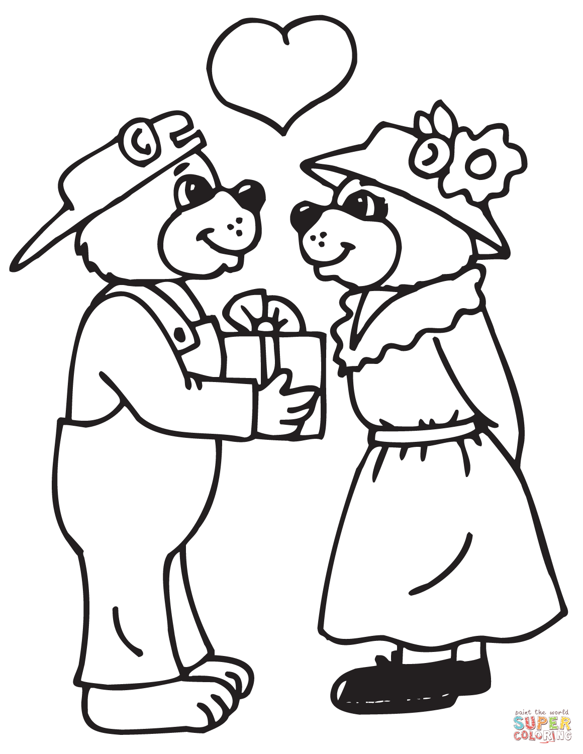 Bears Couple Coloring Page Free Printable Coloring Pages