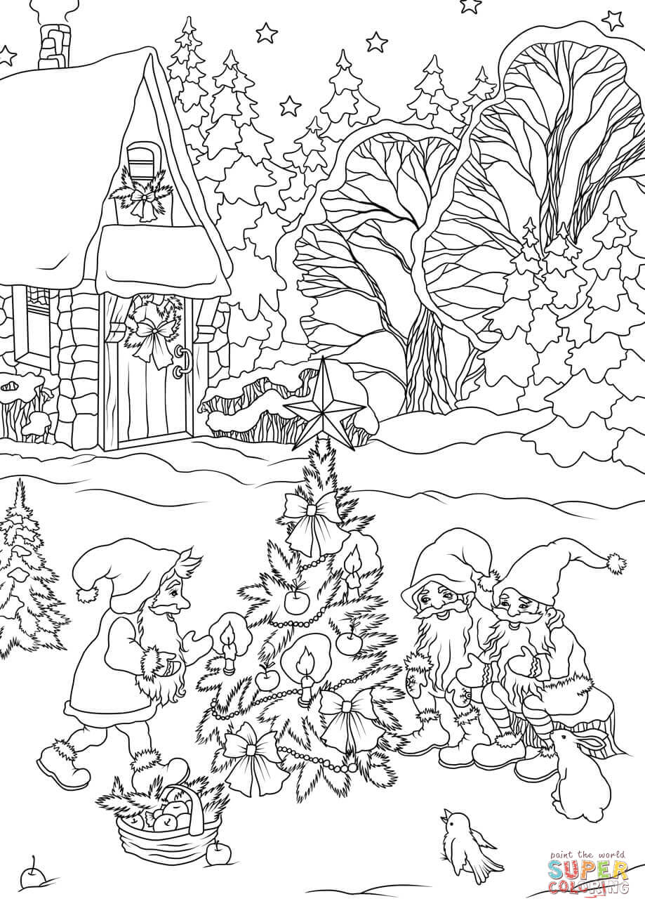 Christmas Gnomes Are Decorating A Tree Coloring Page