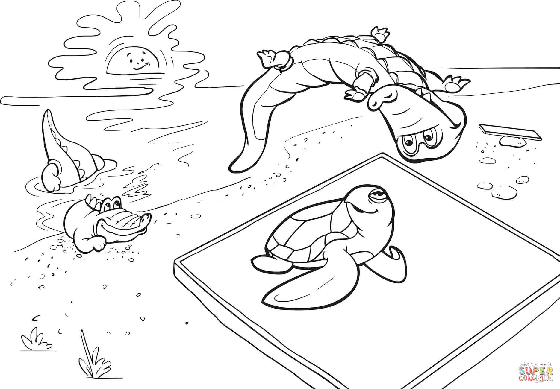 Crocodile And Turtle Are Trampolining Coloring Page