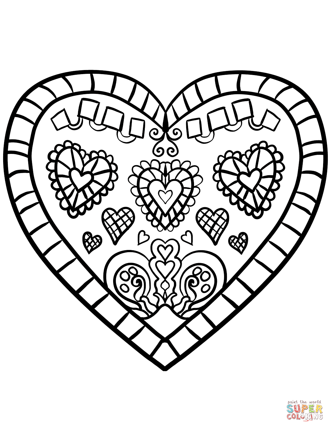 Decorated Heart Coloring Page Free Printable Coloring Pages