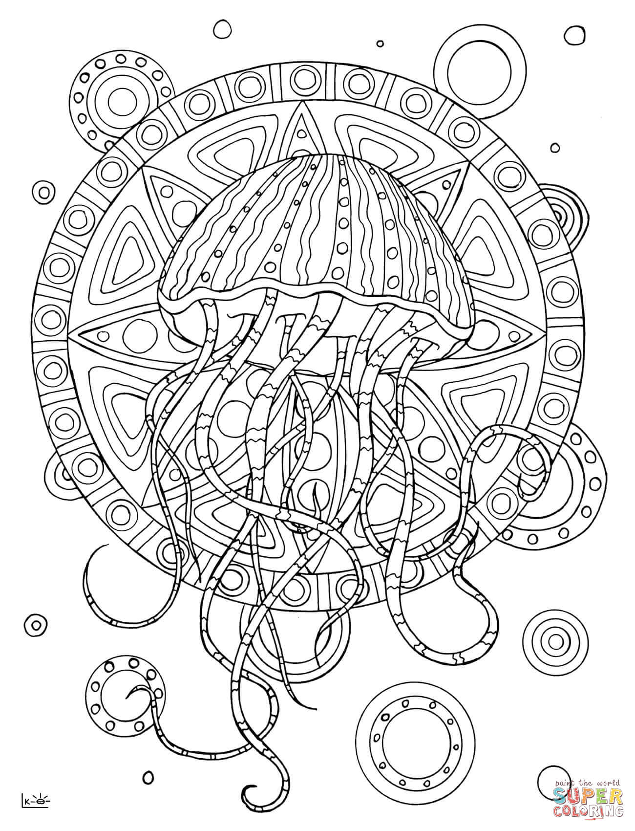 Jellyfish With Tribal Pattern Coloring Page