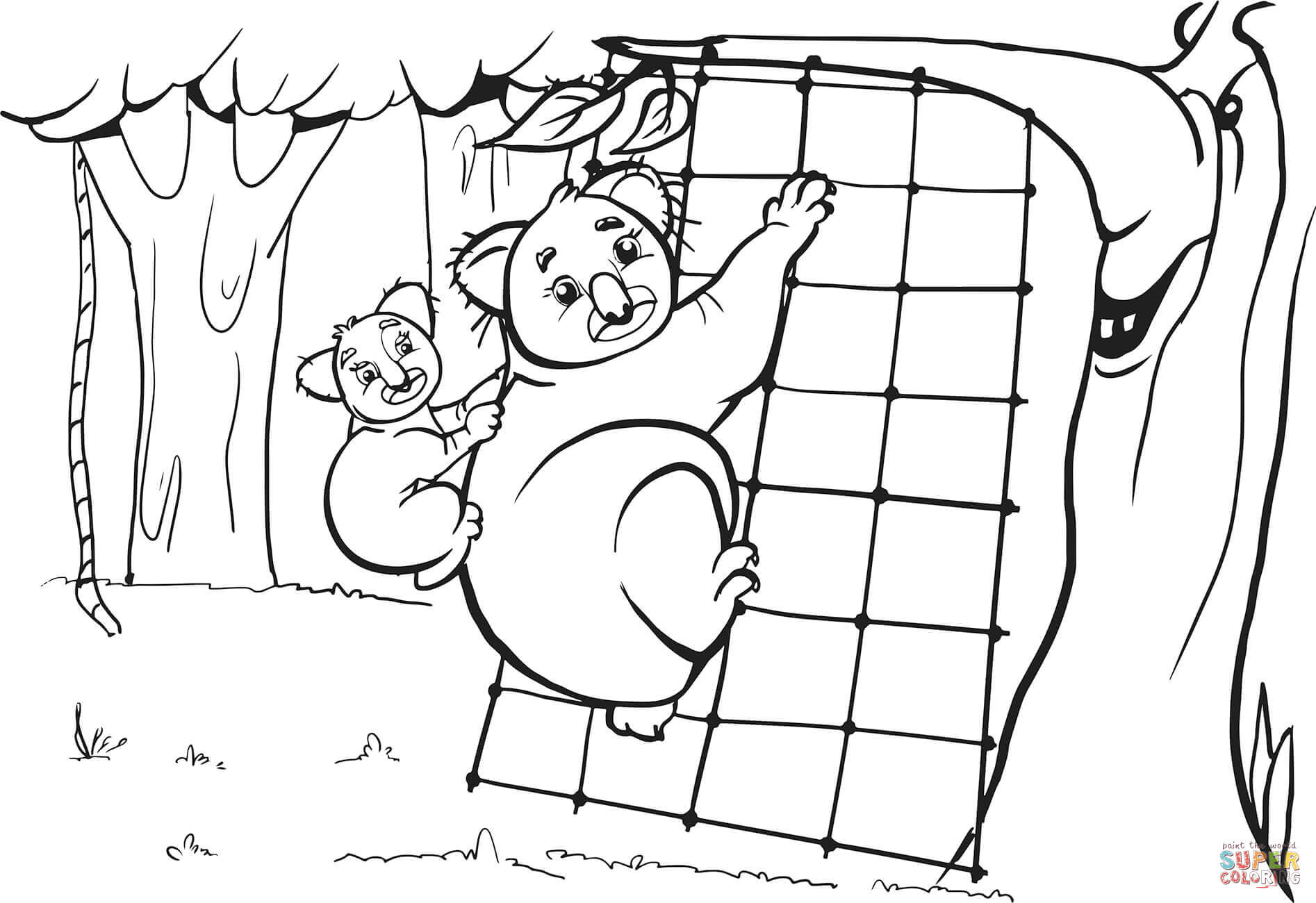 Koala Mother And Her Cub Are Climbing On The Grid Coloring Page