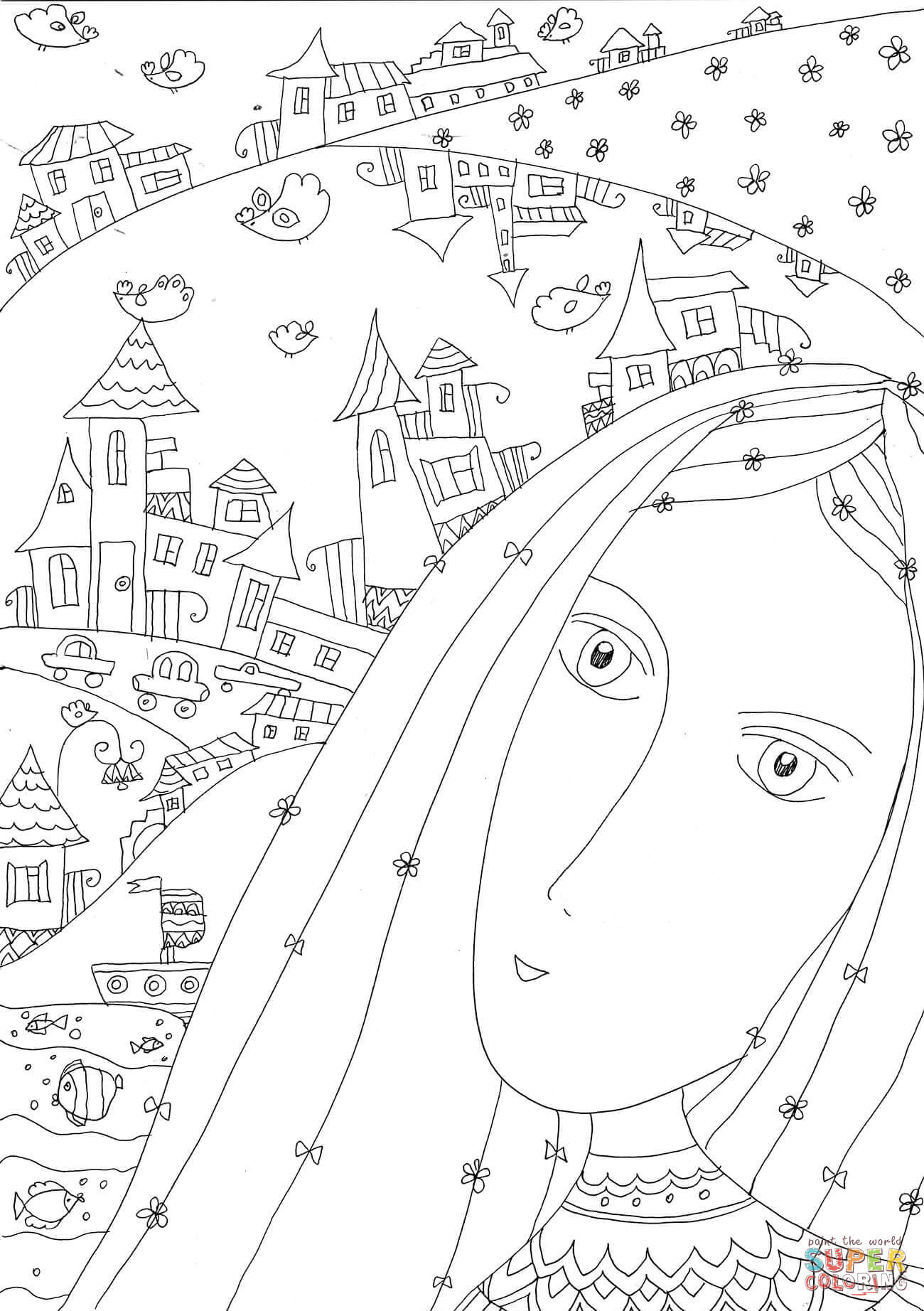 My Town Coloring Page