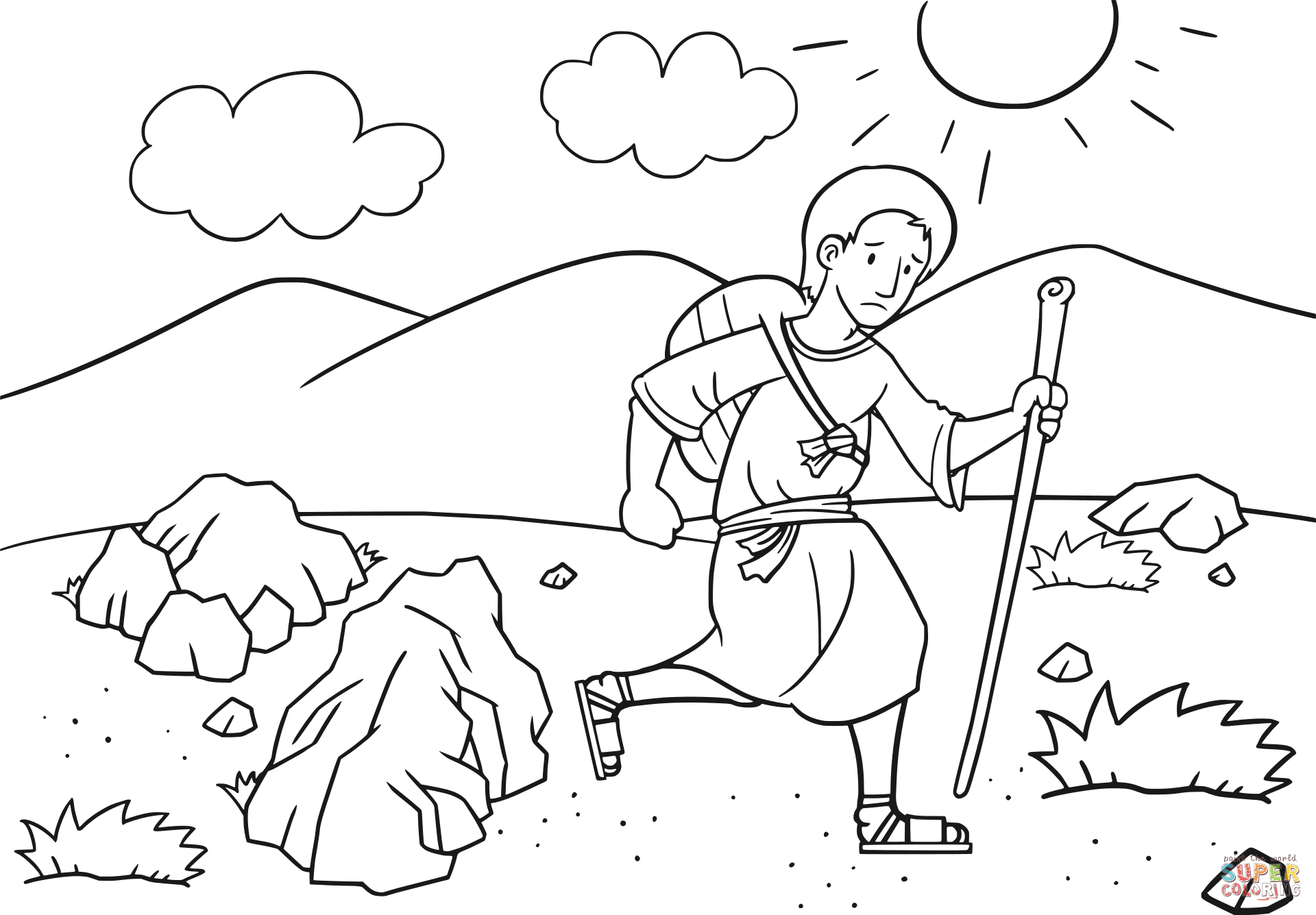 Jacob En Route To Haran Coloring Page