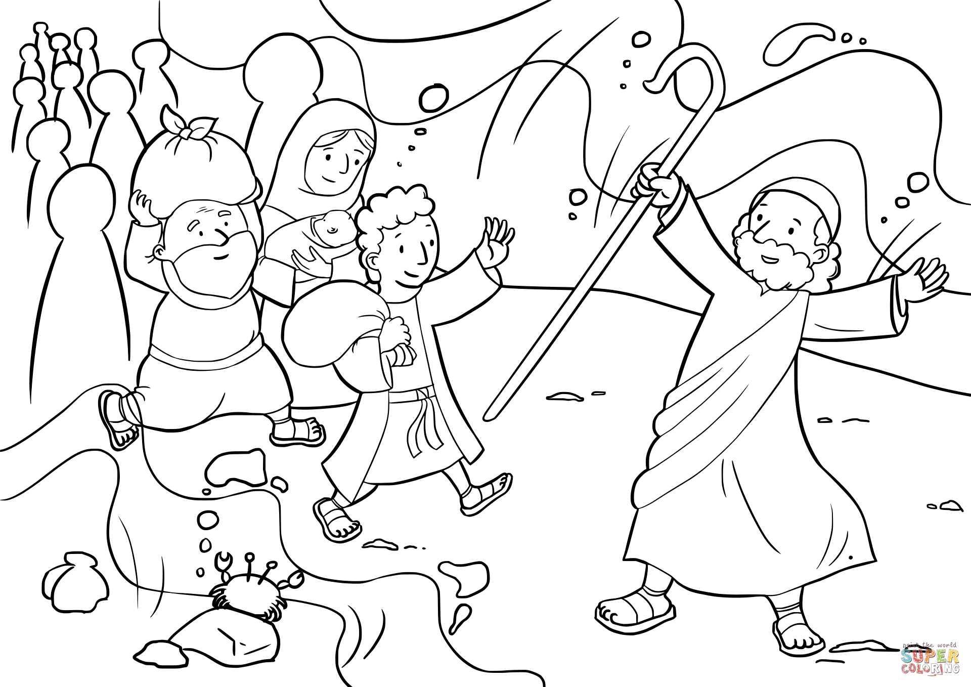 Israelites Cross The Red Sea Coloring Page