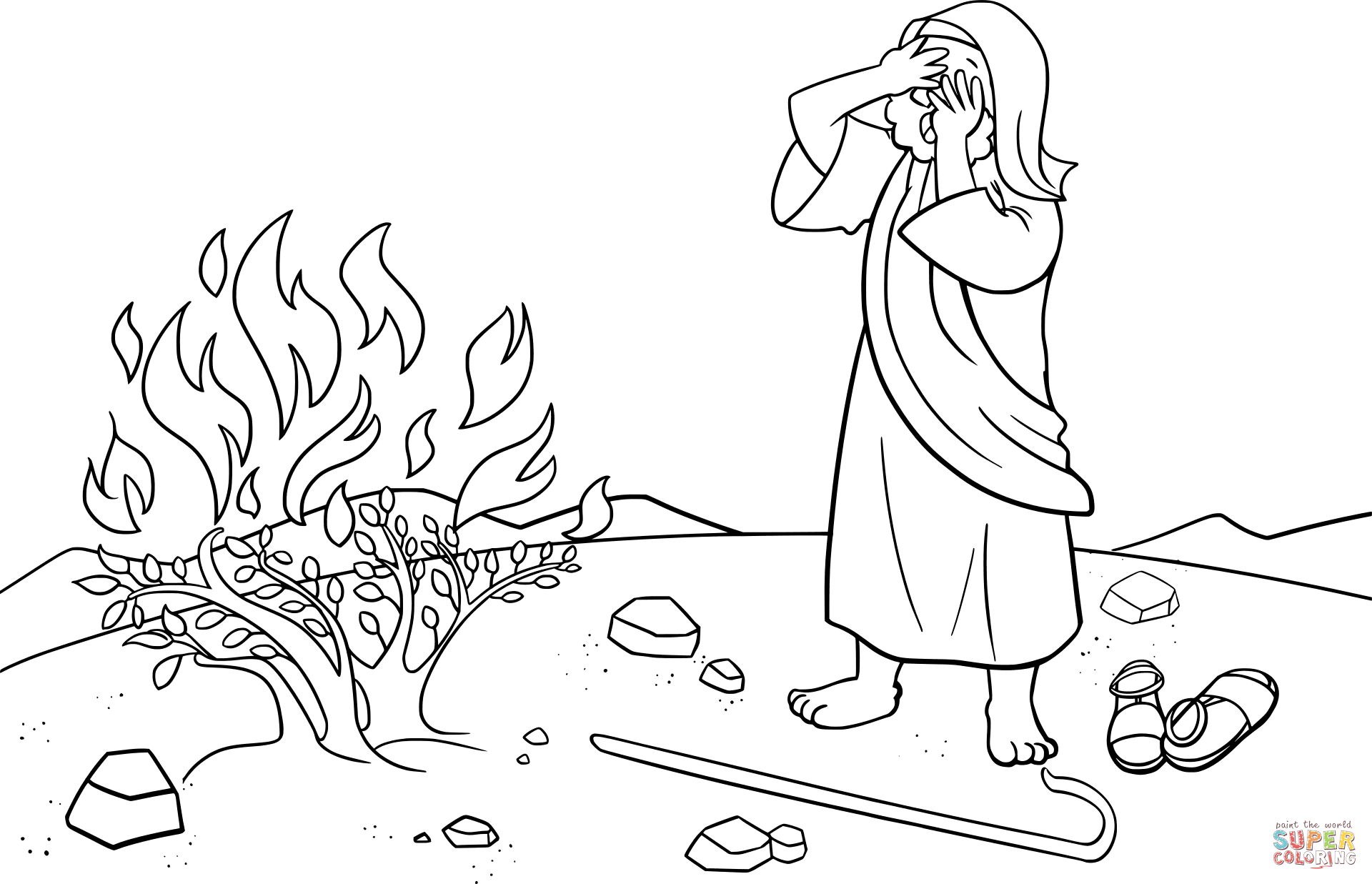 Moses Hid His Face Being Afraid To Look At God Coloring