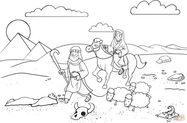 Abram and Sarai Traveling to Egypt coloring page  Free Printable