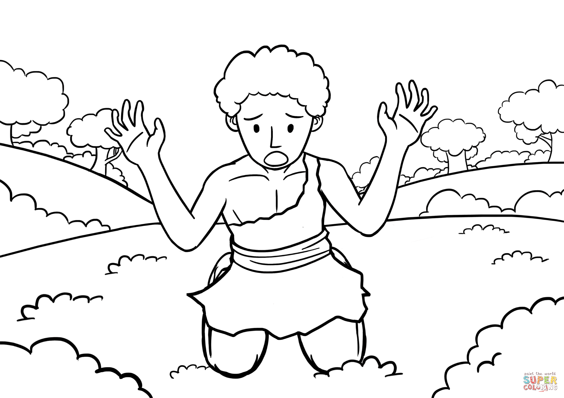 Cain S Repentance Coloring Page