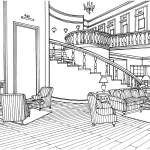 Klassisk Indretning Stor Dagligstue Med Trappe Tegninger Til Print