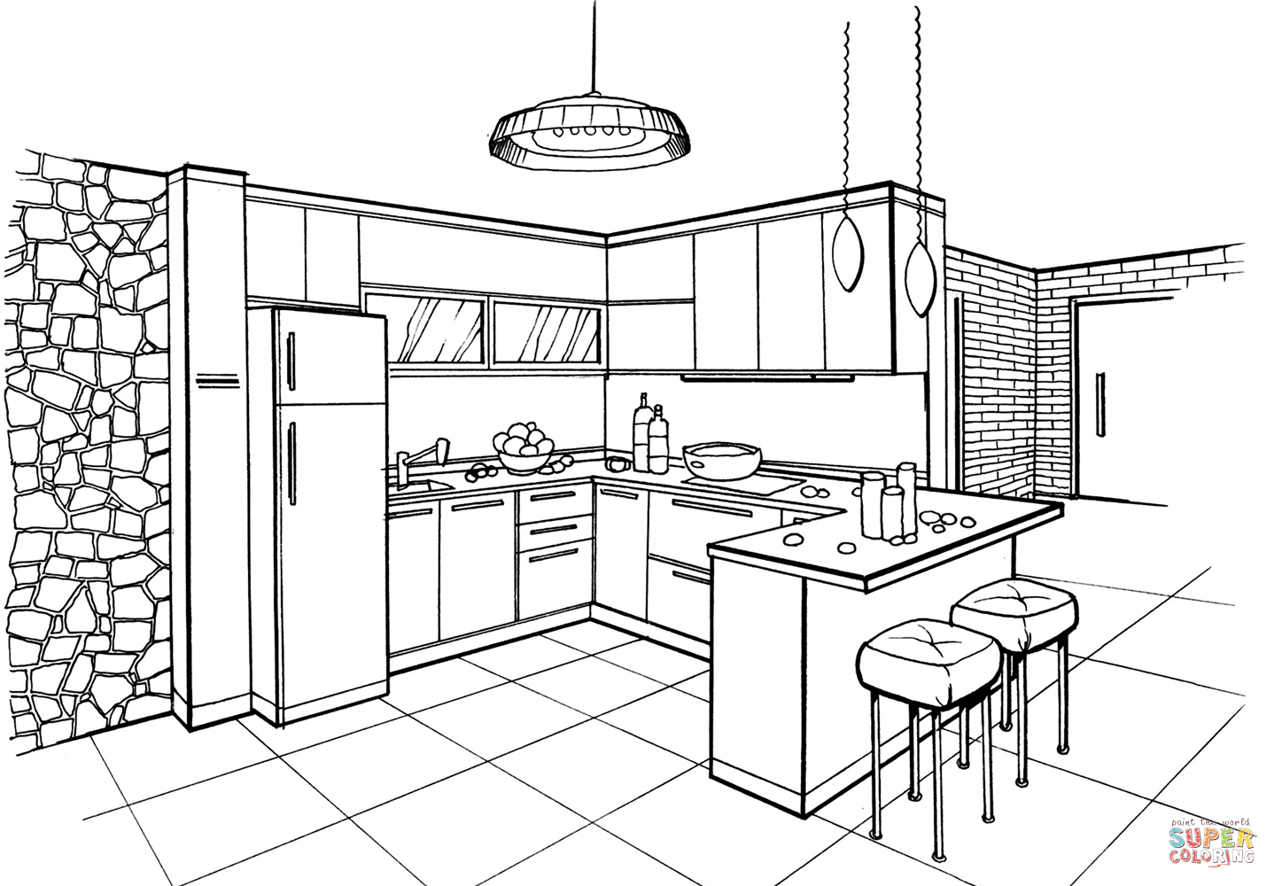 Kitchen In Minimalist Style Coloring Page Free Printable