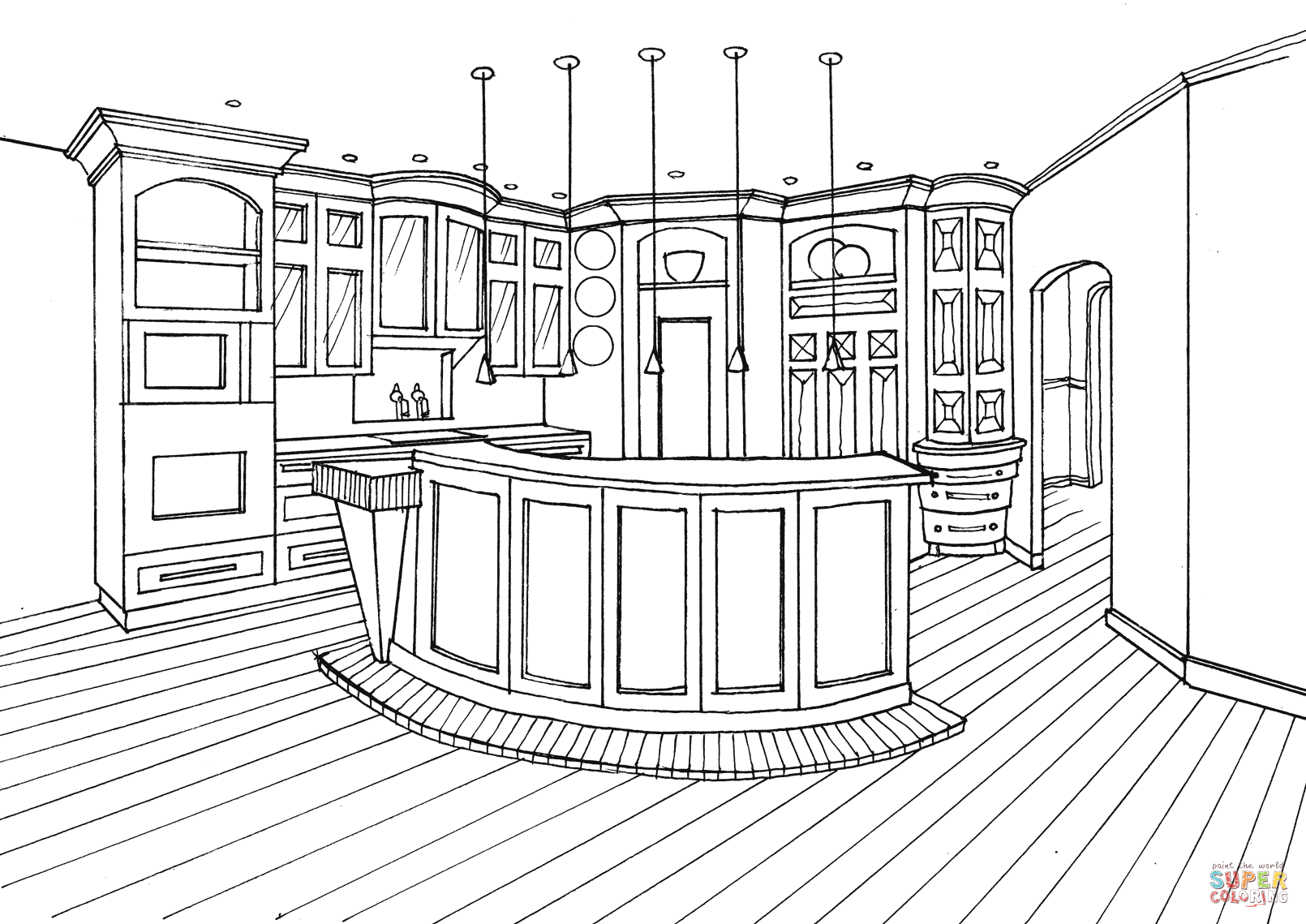 Kitchen With Bar Counter Coloring Page