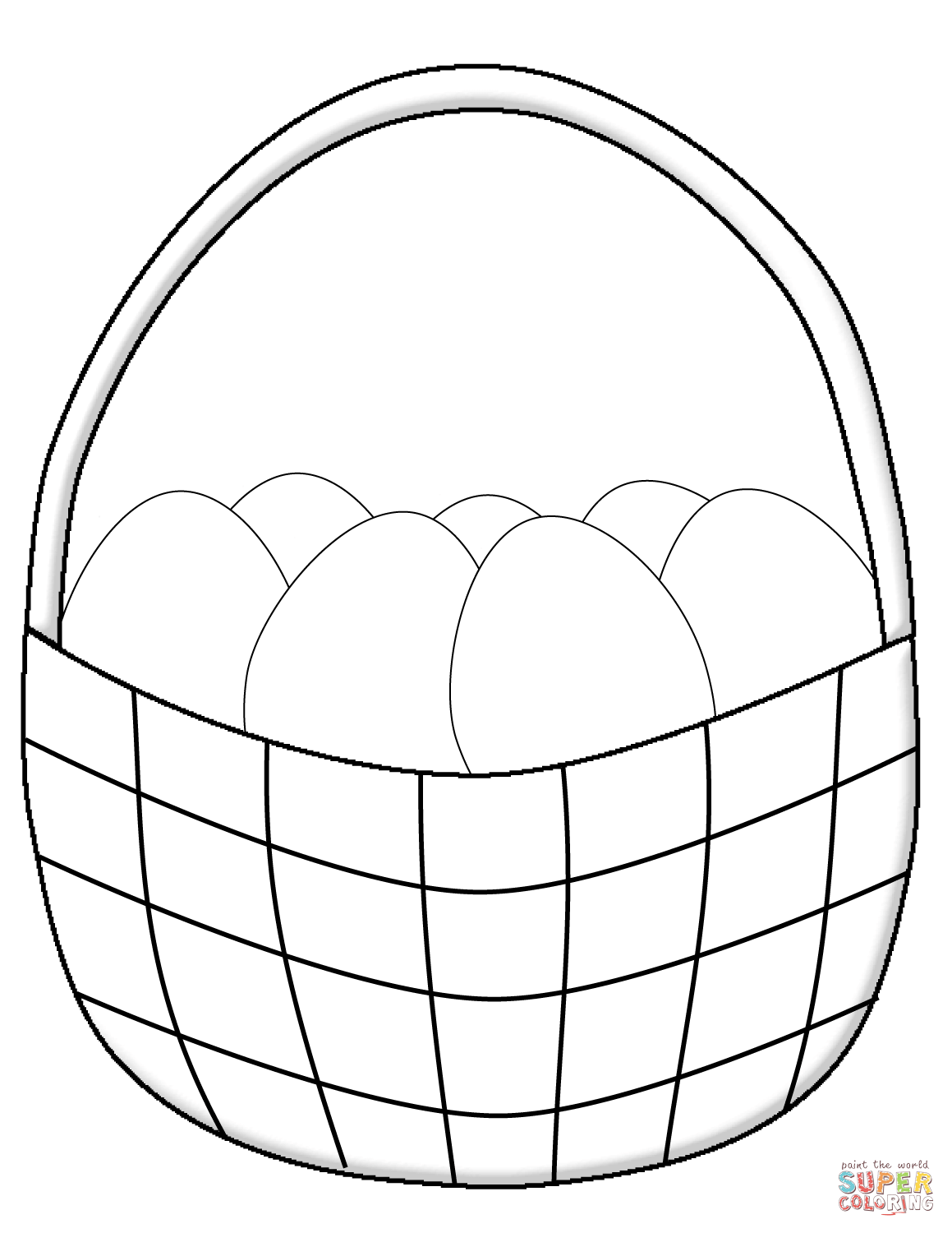 Simple Easter Basket With Eggs Coloring Page