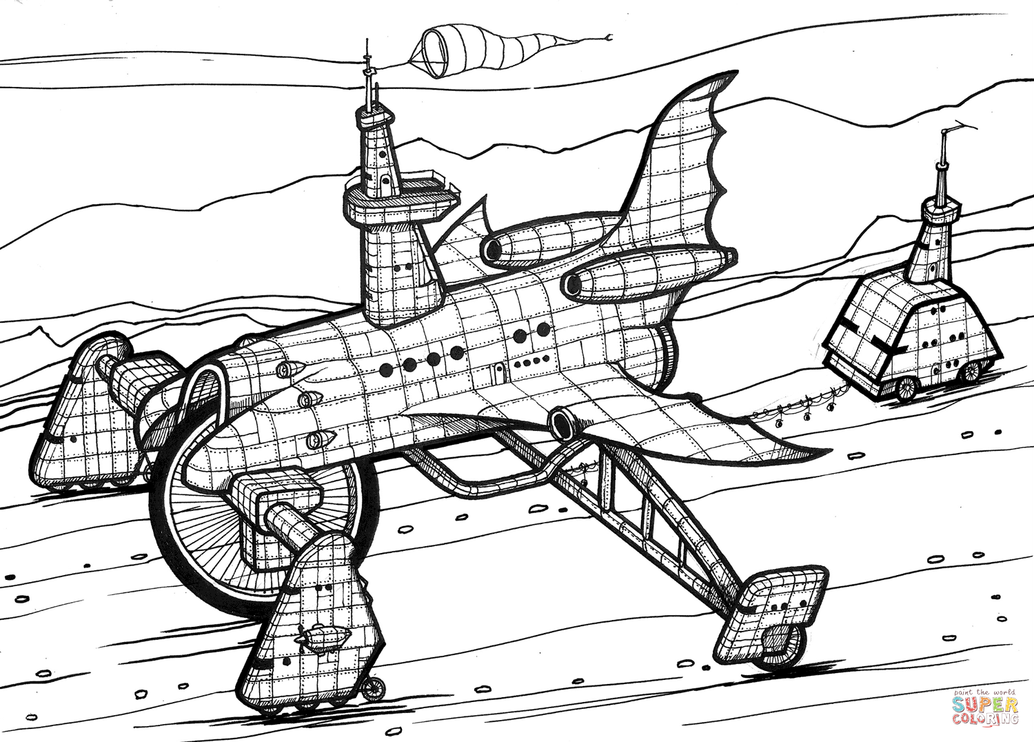 Space Shuttle 4x4 Coloring Page