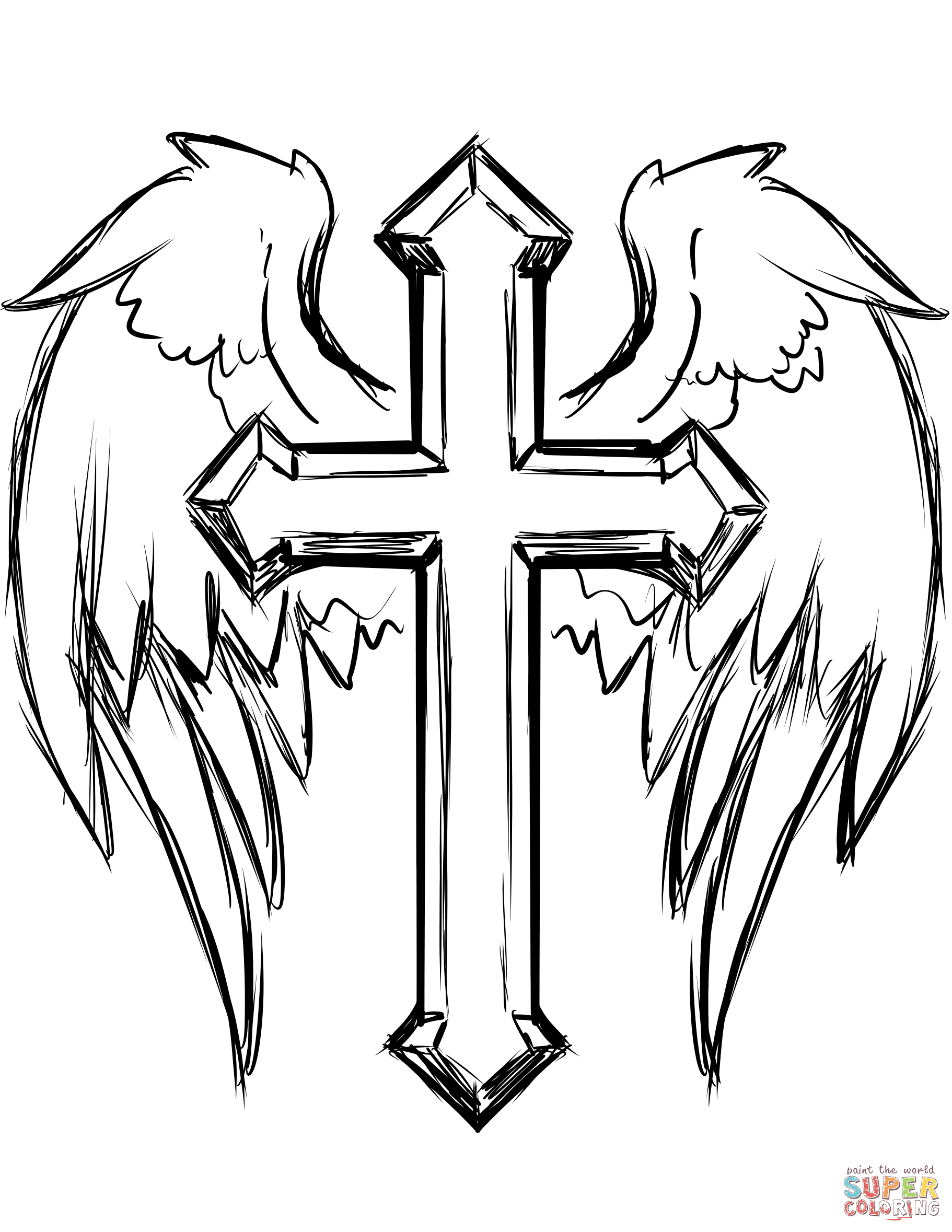 Cross With Wings Coloring Page