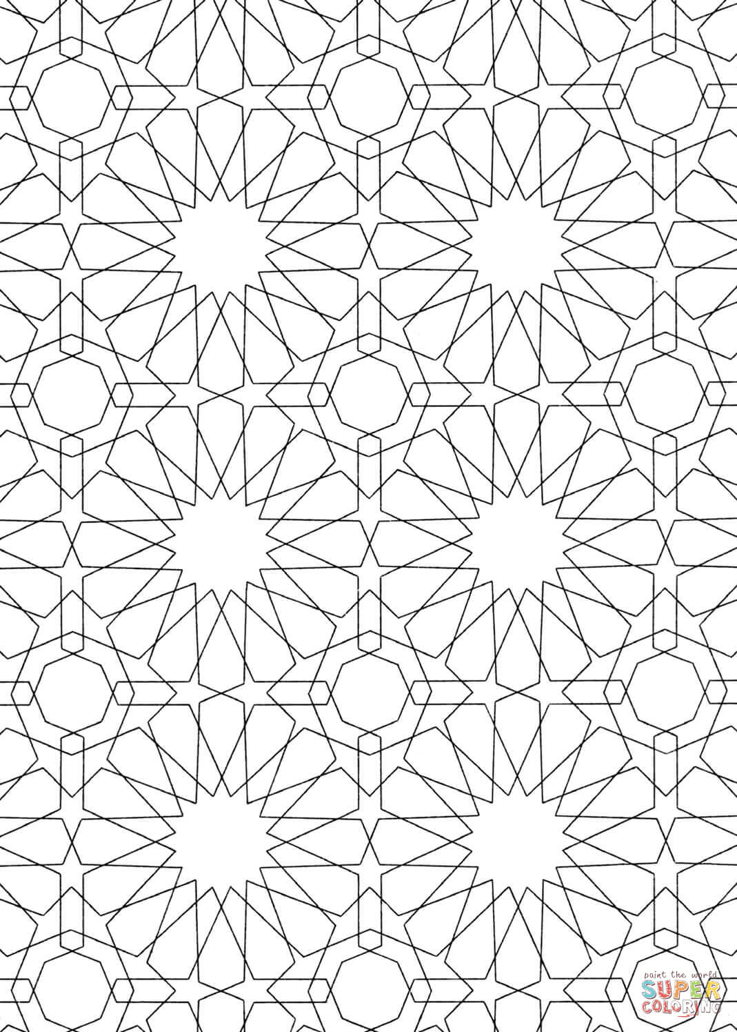 Gambar Islamic Pattern Coloring Page Free Printable Pages