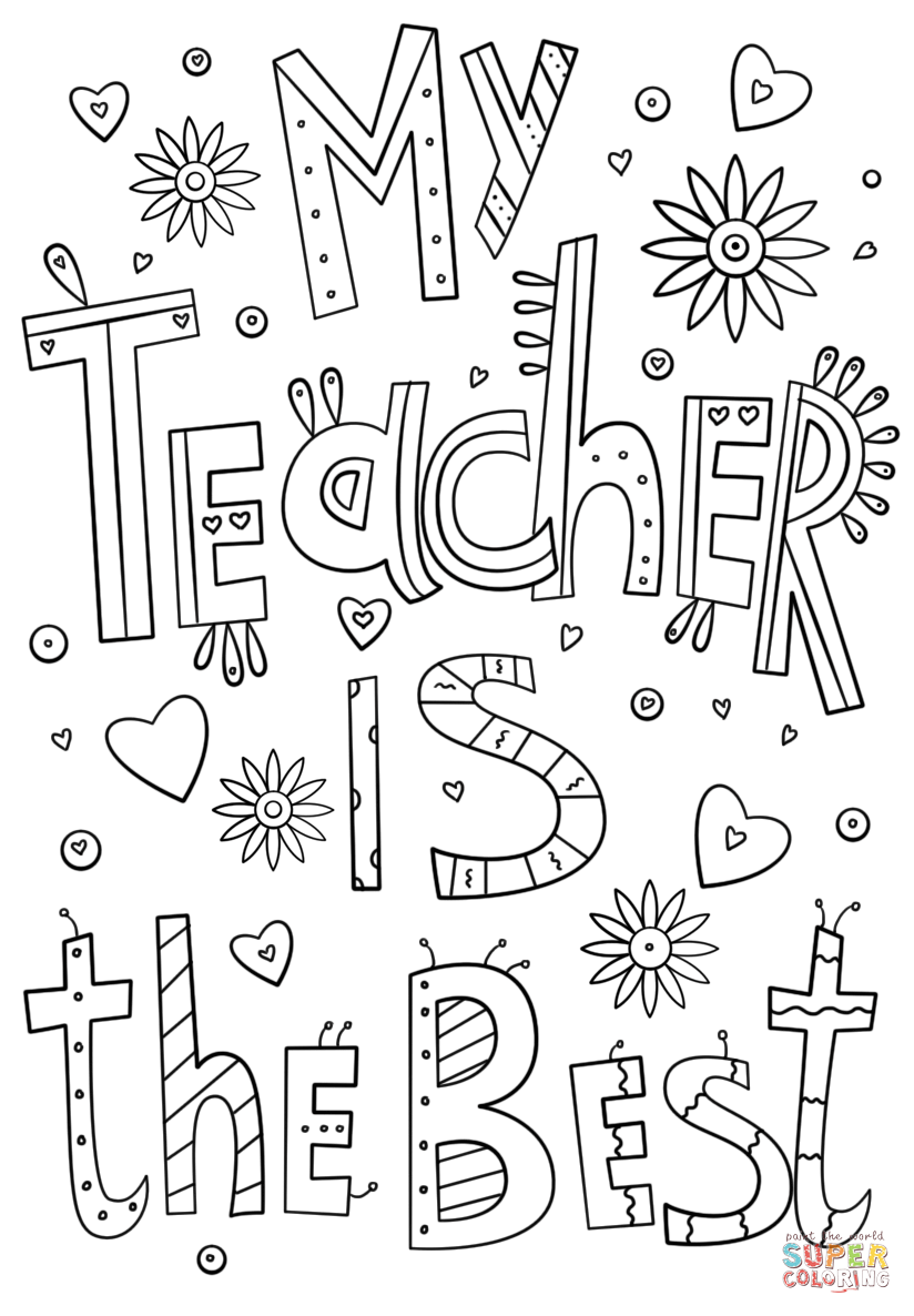 my teacher is the best doodle coloring page  free