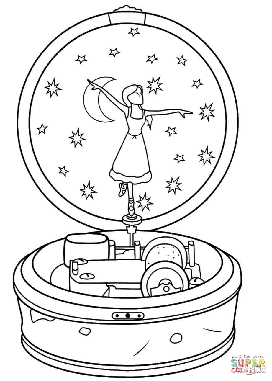 Ballerina Music Box Coloring Page Free Printable Coloring Pages