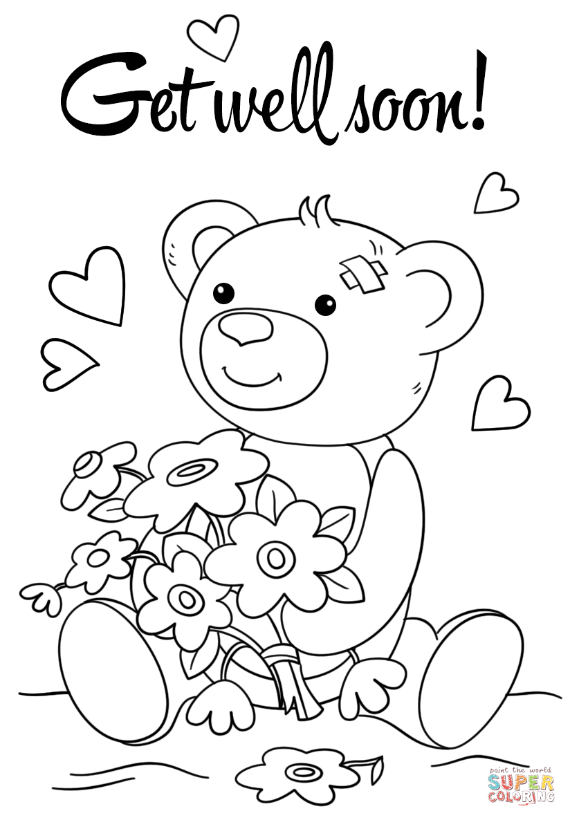 Cute Get Well Soon Coloring Page Free Printable Coloring Pages
