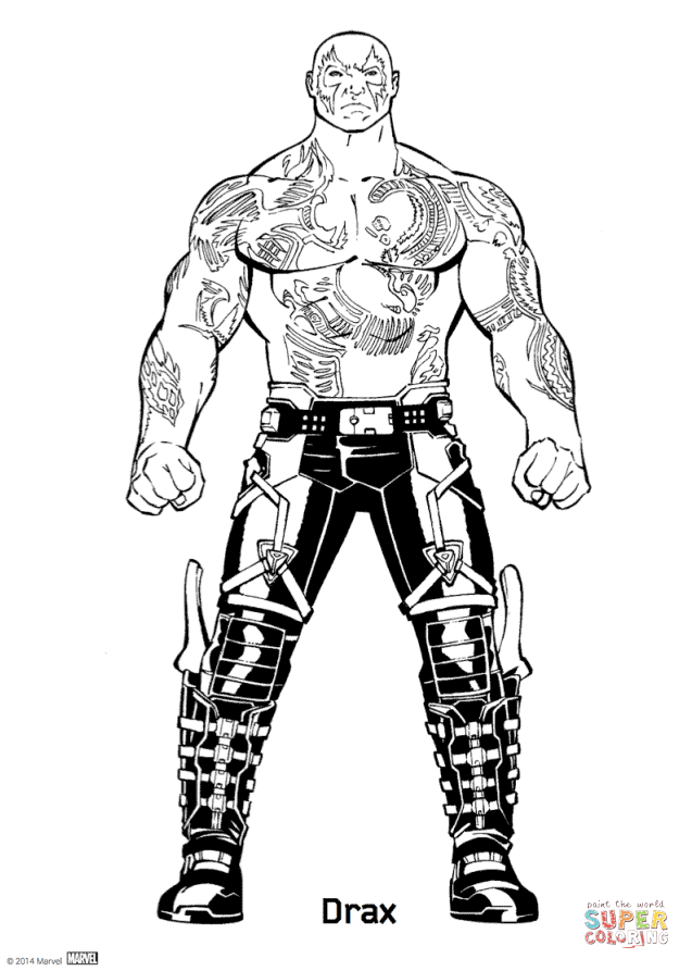 Drax From Guardians Of The Galaxy Coloring Page Free