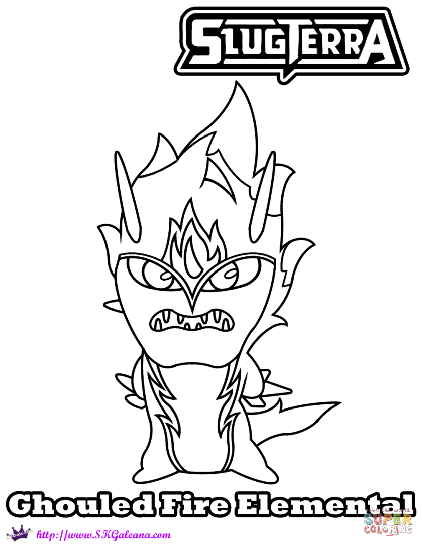 fire elemental ghouled coloring page  free printable
