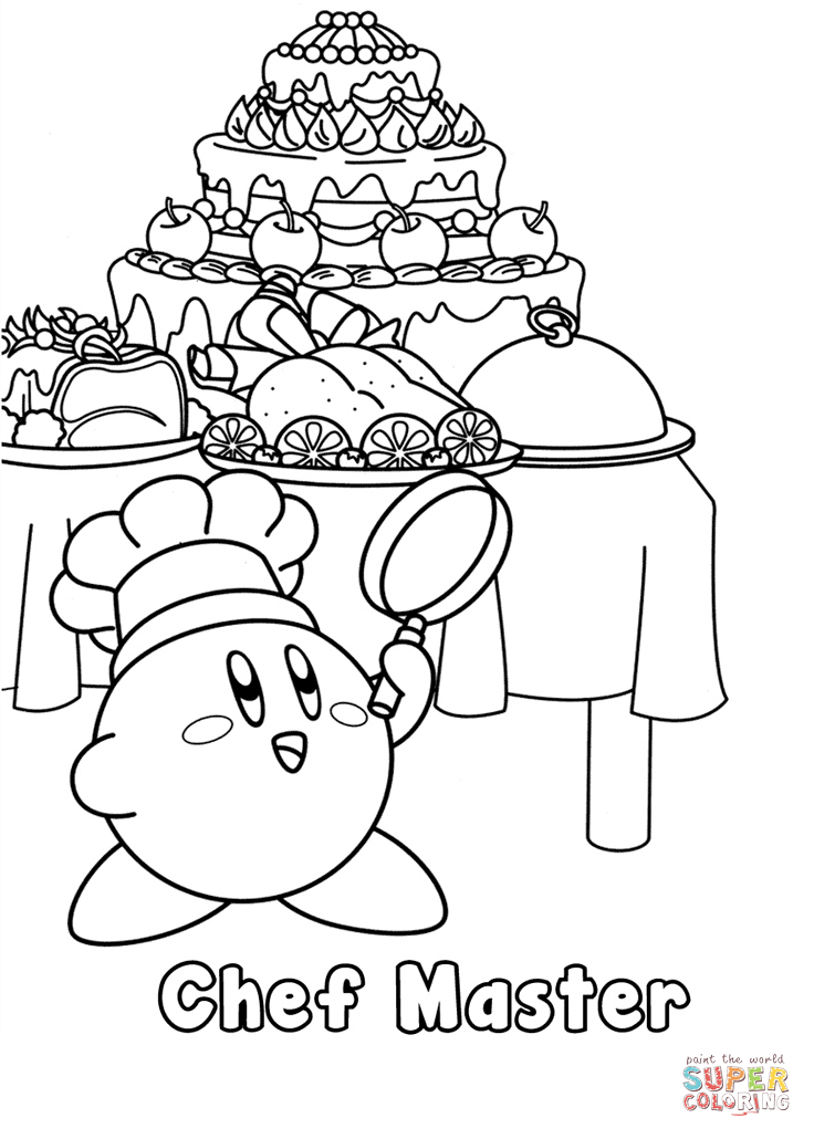 kirby chef master coloring page  free printable coloring