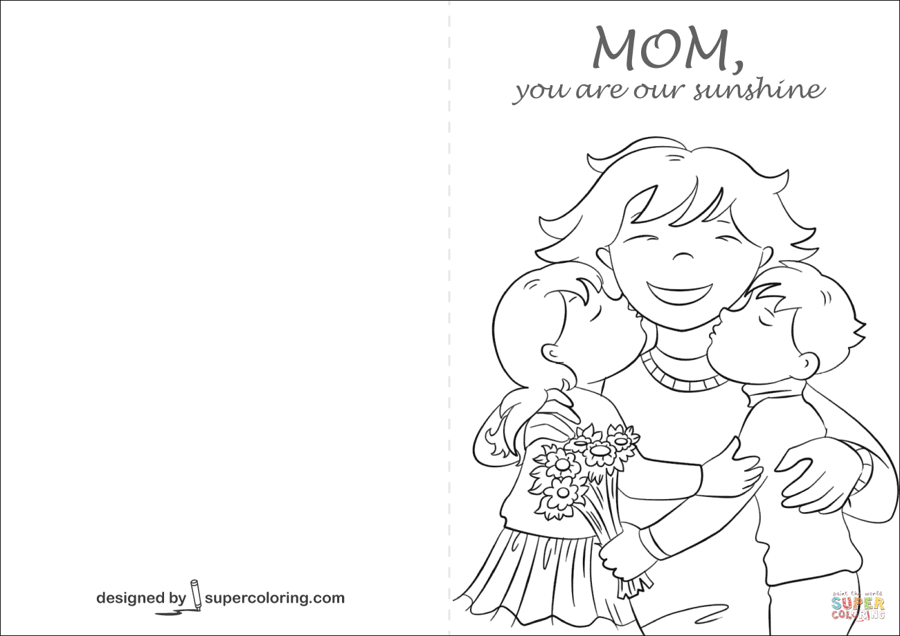 Mom You Are Our Sunshine Card Coloring Page