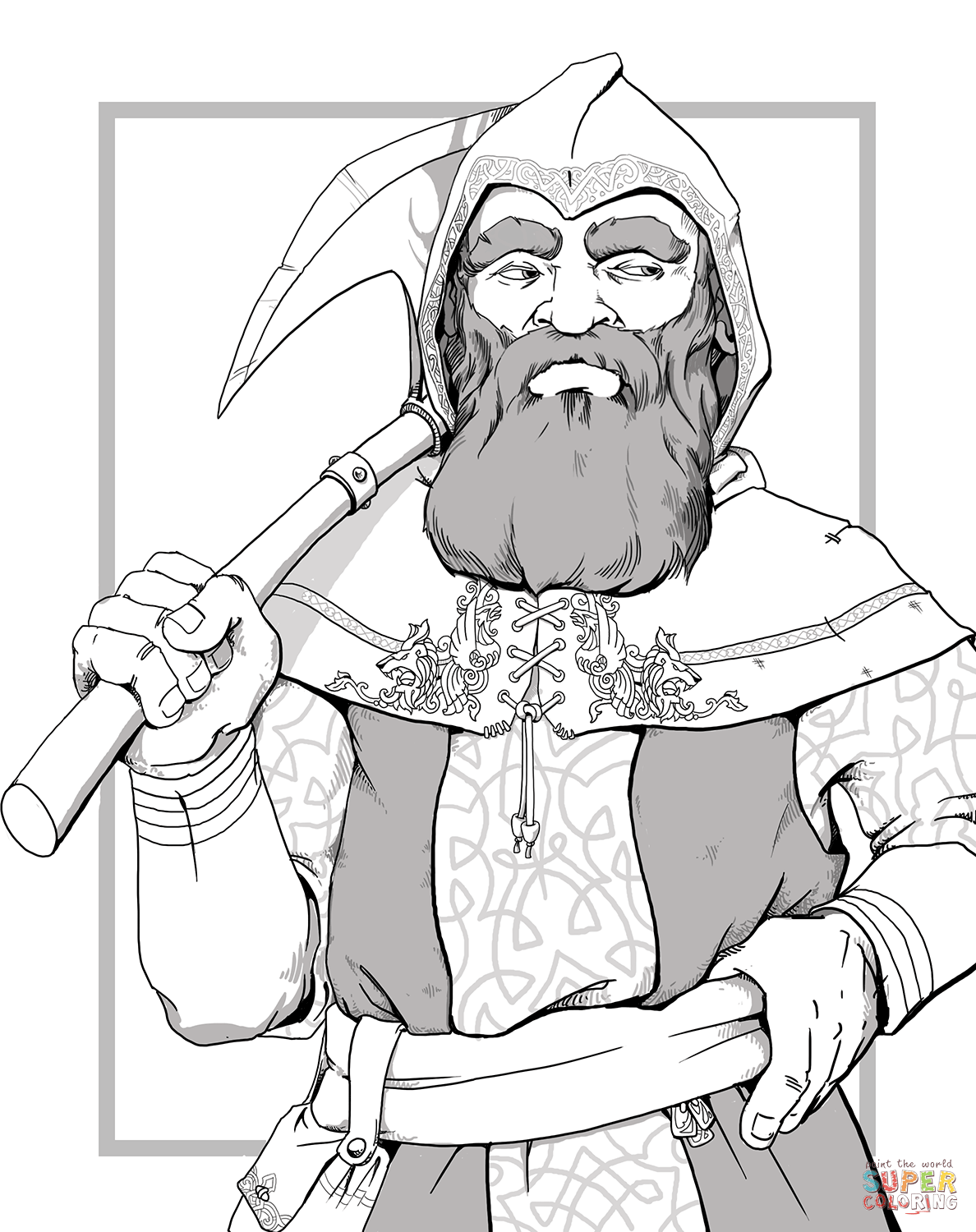 Dungeons And Dragons Dwarf Coloring Page Free Printable Coloring Pages