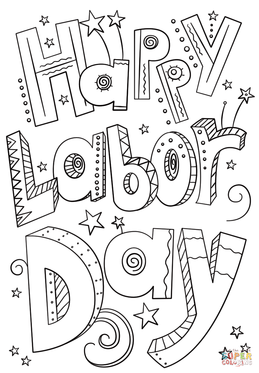 Happy Labor Day Doodle Coloring Page Free Printable Coloring Pages