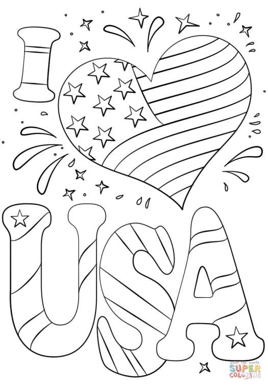 Stunning I Love Usa Coloring Pages Pictures Inspiration - Example ...