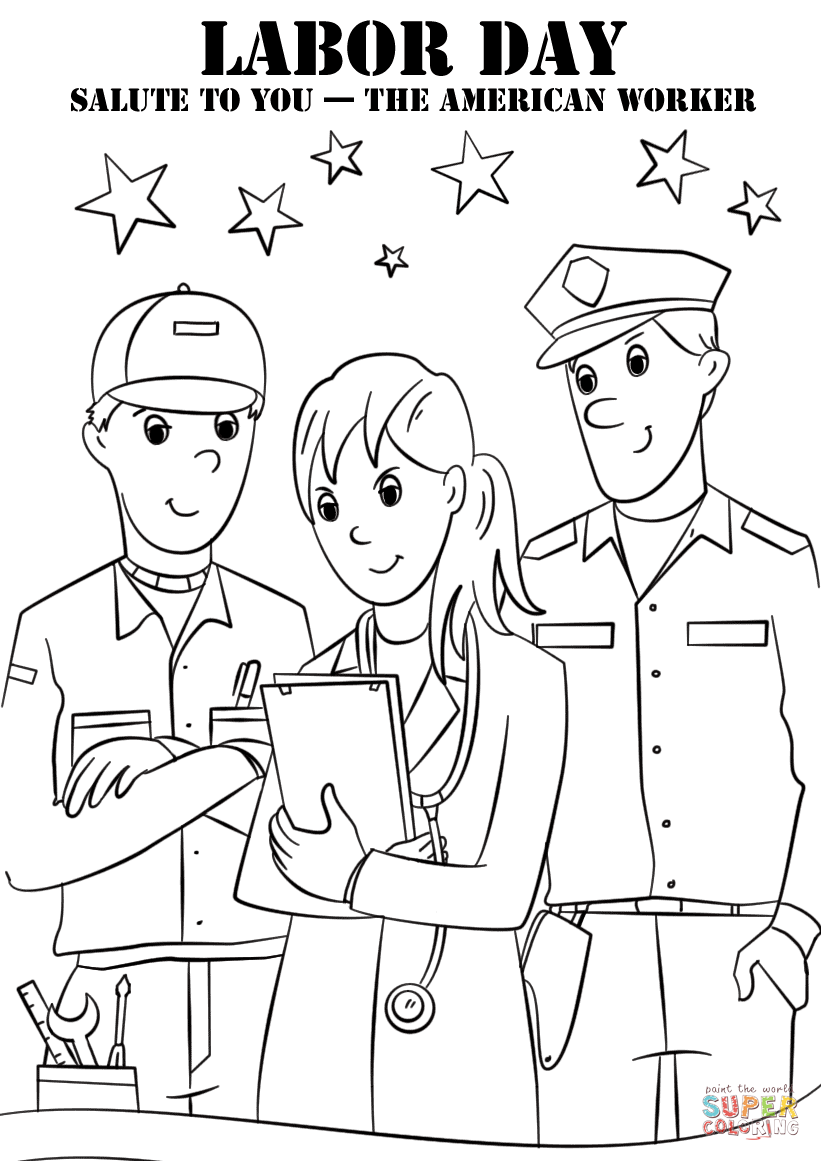 Free Coloring Pages Download Labor Day Salute To You The American Worker Page