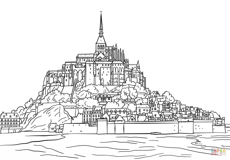 Mont Saint Michel Coloring Page
