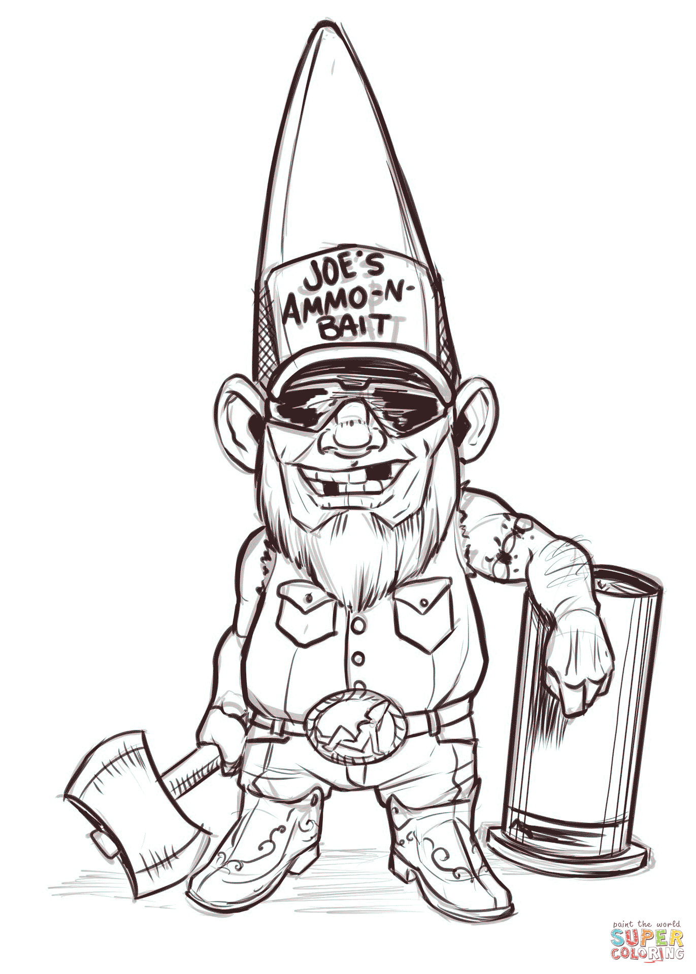 Redneck Gnome Coloring Page Free Printable Coloring Pages