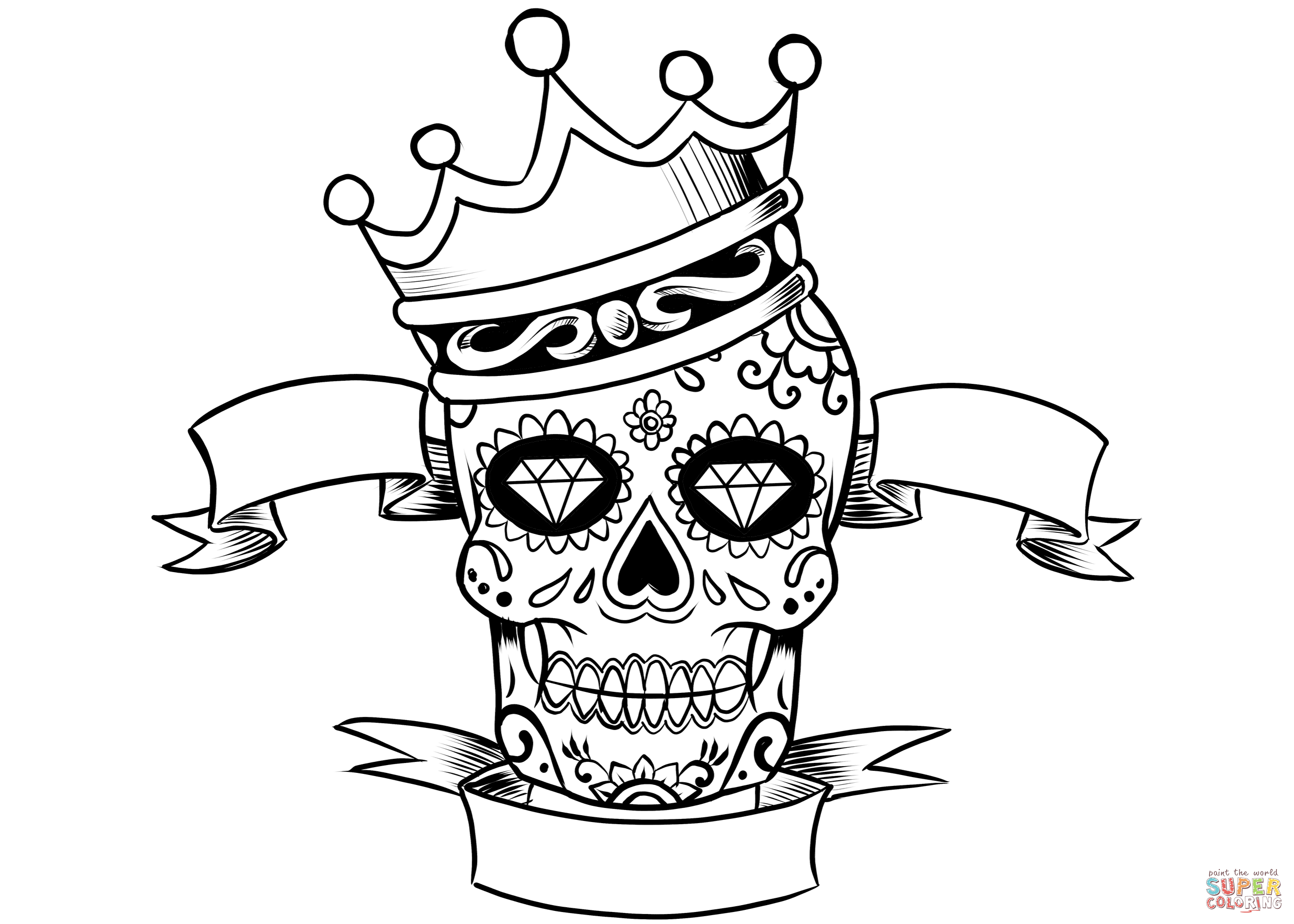Sugar Skull With Crown Coloring Page