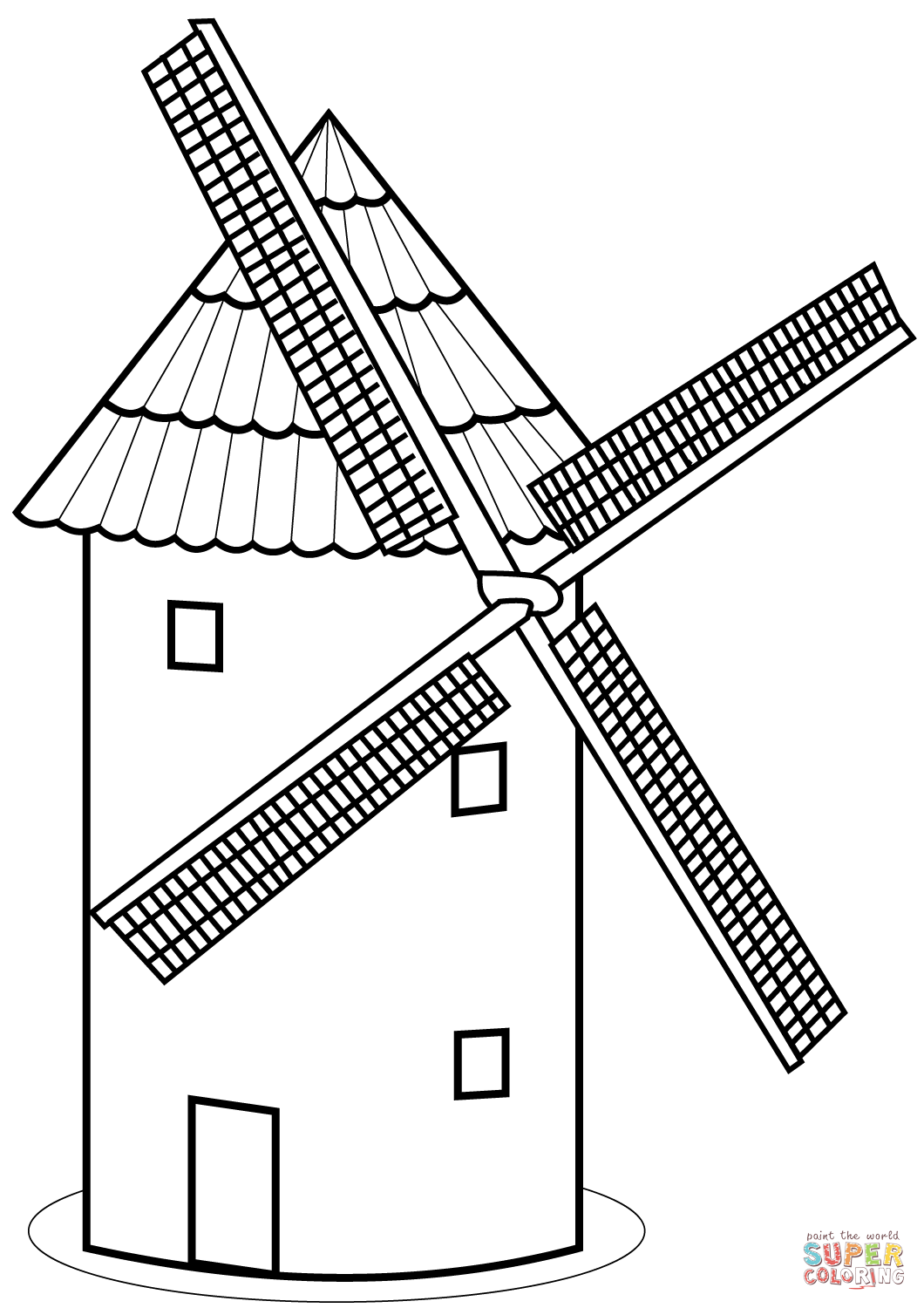 Tower Mill Coloring Page