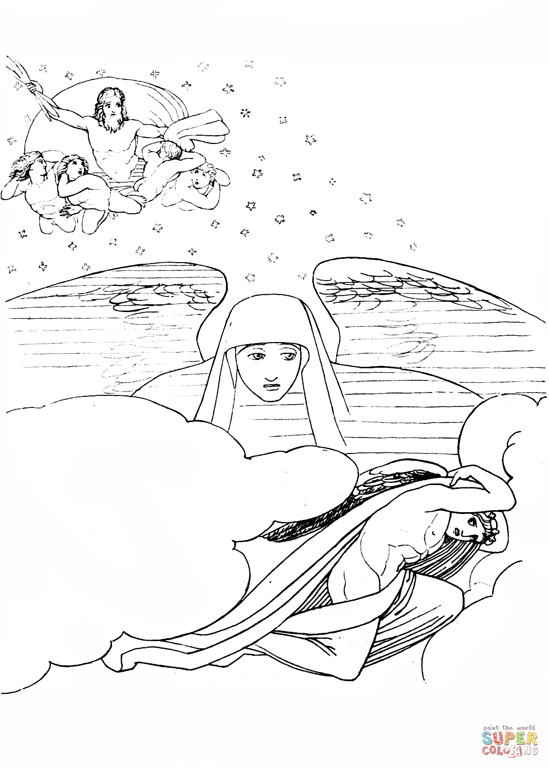 Sleep Escaping From The Wrath Of Zeus Coloring Page Free