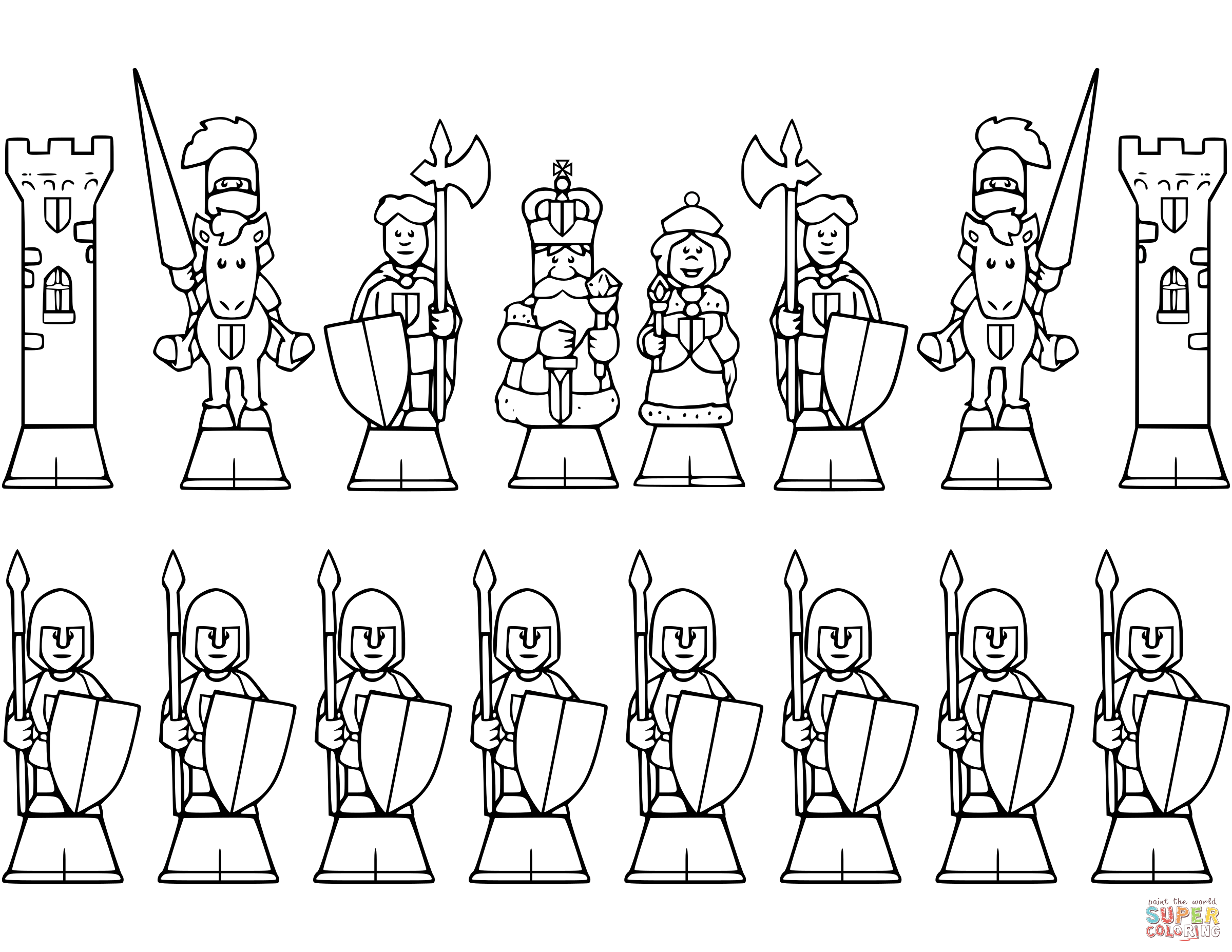 All Chess Pieces Coloring Page
