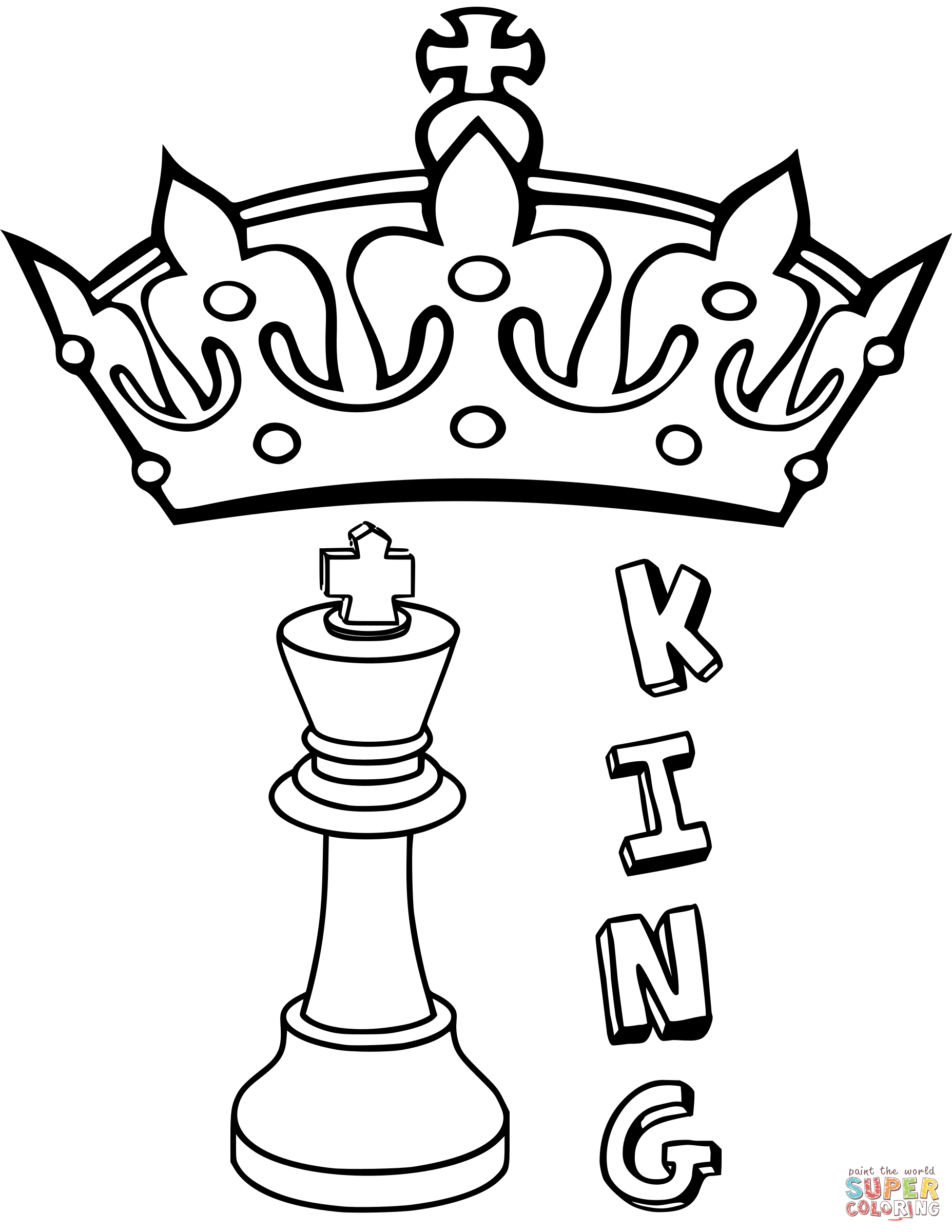 King Chess Piece Coloring Page