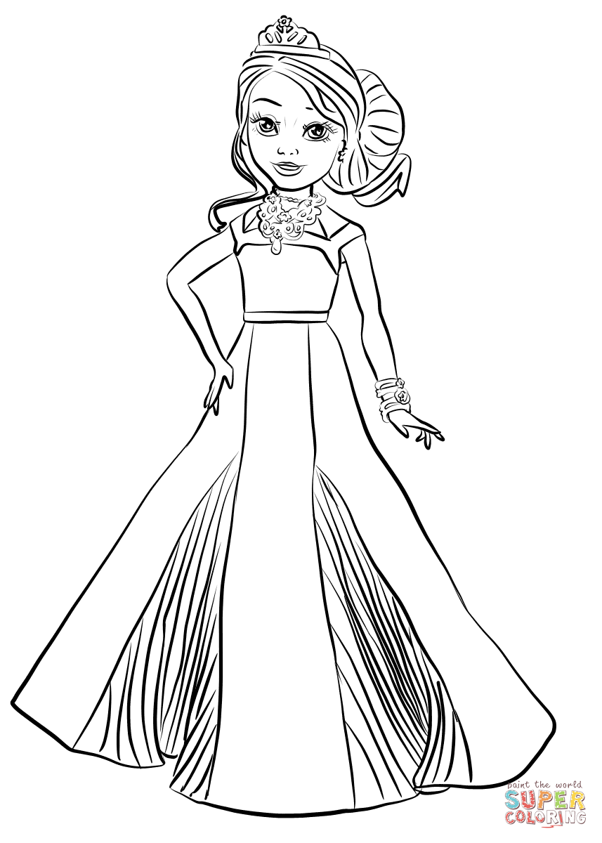 Disney Descendants Auradon Coronation Audrey Coloring Page Free