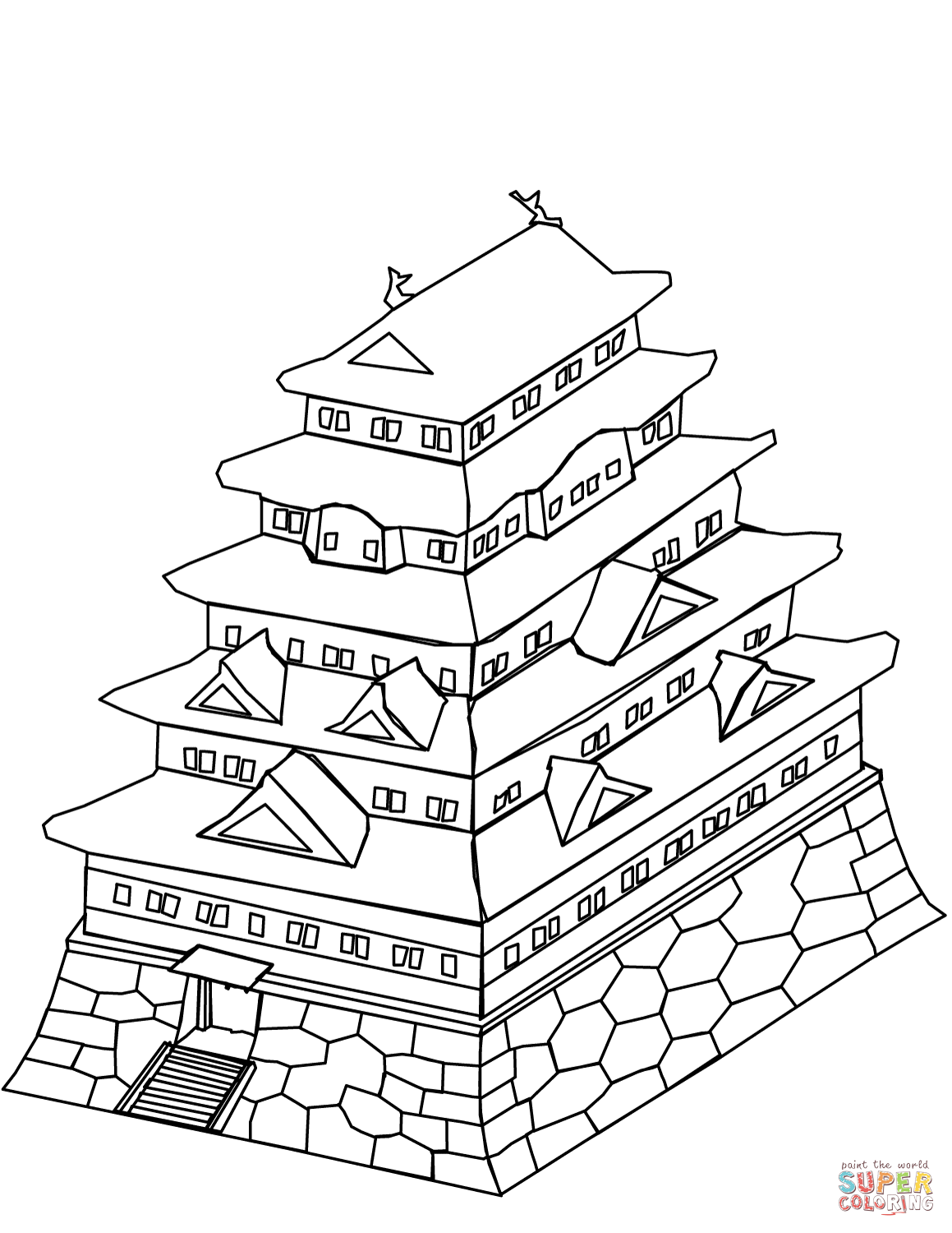 Japanese Castle Coloring Page