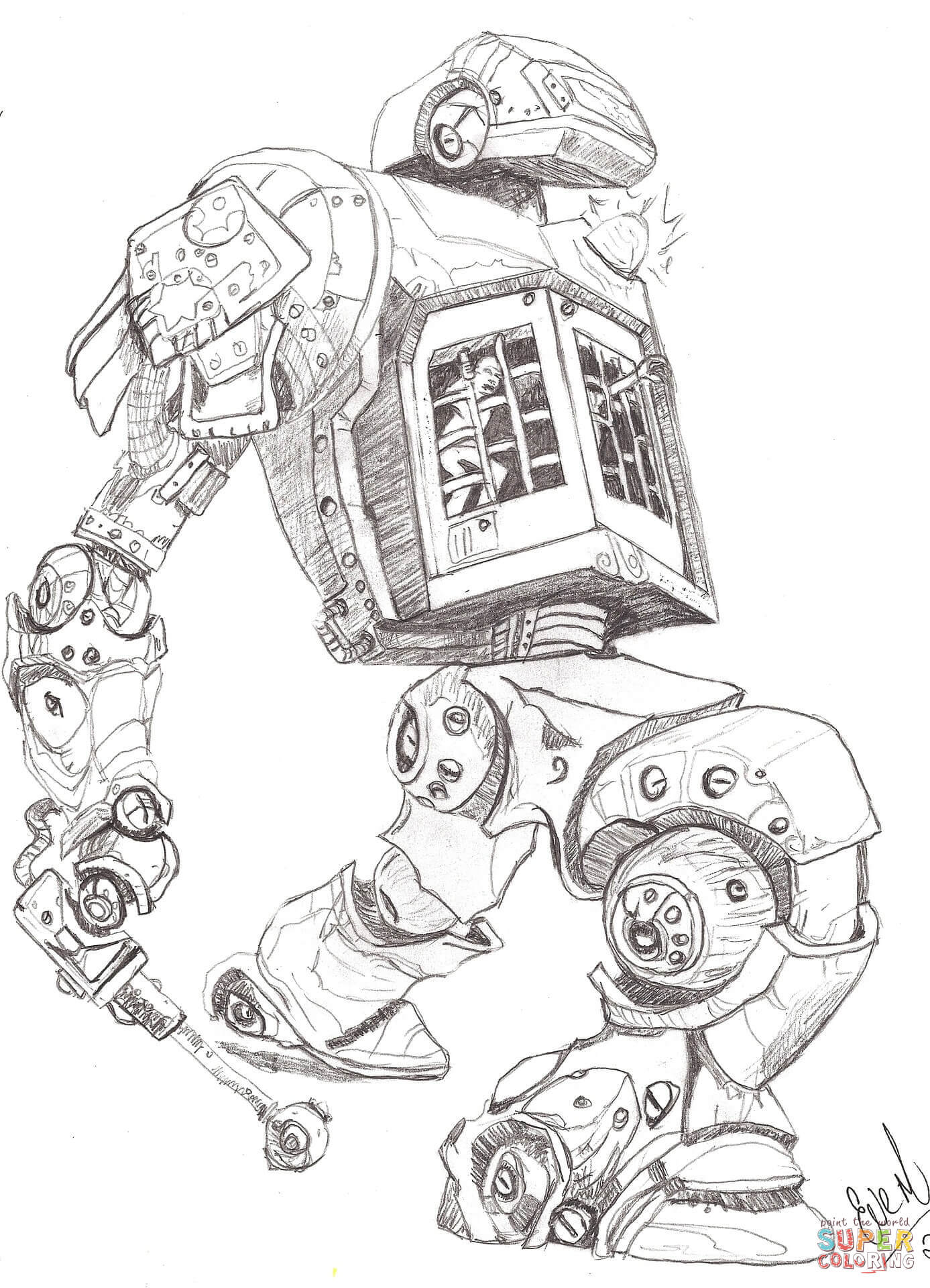 Robot Policeman Coloring Page