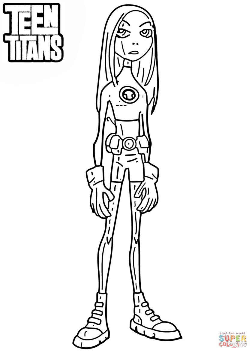 teen titans terra coloring page  free printable coloring