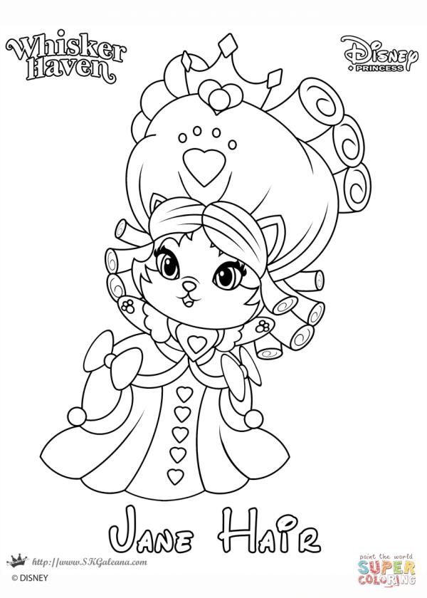 Whisker Haven Jane Hair Princess coloring page Free