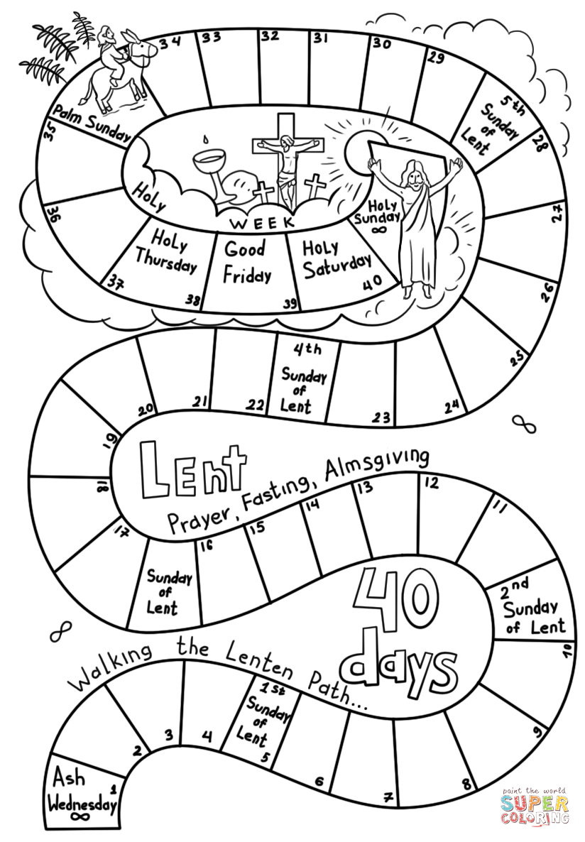 40 Days Of Lent Coloring Page Free Printable Coloring Pages